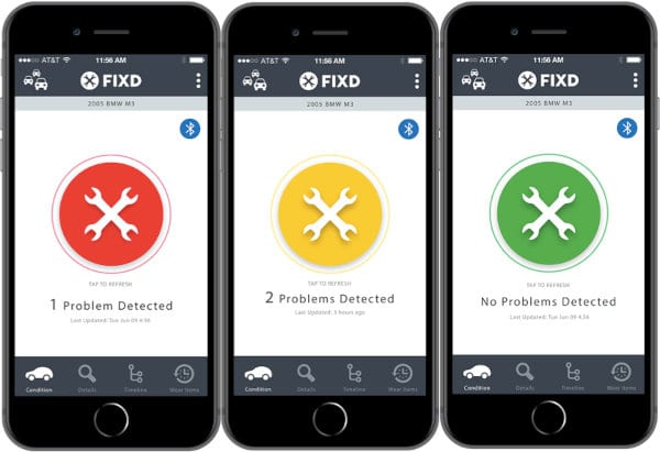 The home screen of the FIXD app.