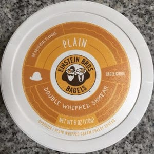 A container of double-whipped plain shmear from Einstein Bagels.
