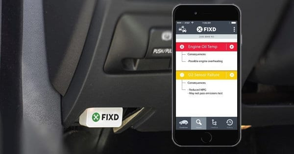 FIXD plugged into an OBD port.