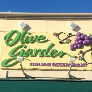 The Olive Garden logo on one of its locations.