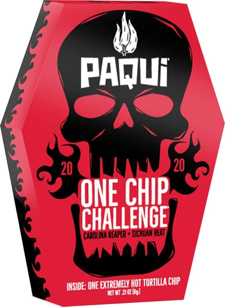 The packaging of the 2020 Paqui tortilla chip.