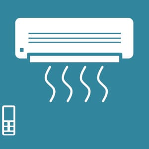 An illustration of an air conditioner and a remote.