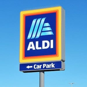 An Aldi road sign.