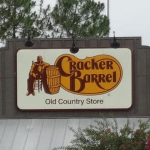 A Cracker Barrel location sign.