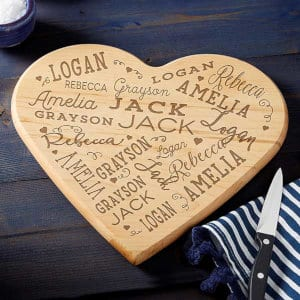 A customizable cutting board from Personalization Mall.