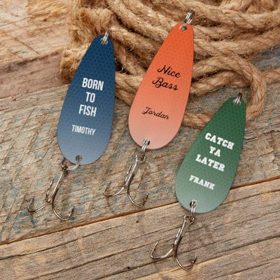 Three customized fishing lures from Personalization Mall.