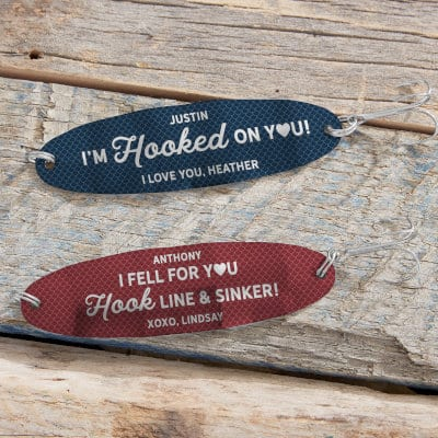 Two customized fishing lures from Personalization Mall.