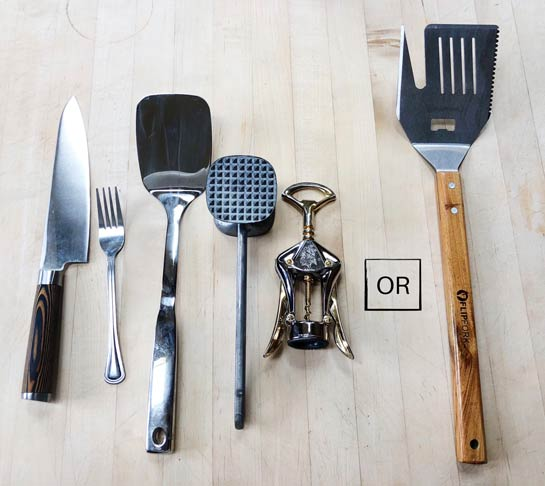 The FlipFork next to the utensils it can replace.