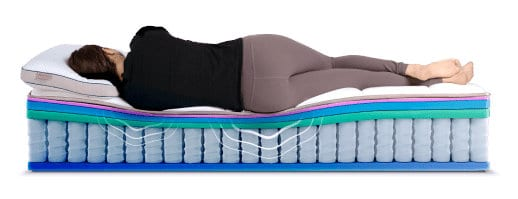 A demonstration of how the DreamCloud mattress supports the body of a person.