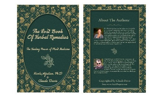 The back and front of the herbal remedy book.