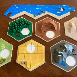 The pieces of the low-poly Catan board.