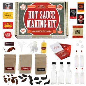The contents of the DIY Gift Kits hot sauce kit.