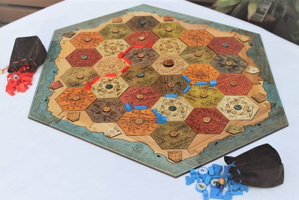 A view of the hardwood Catan board.
