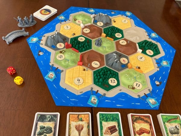 The low-poly Catan board assembled.
