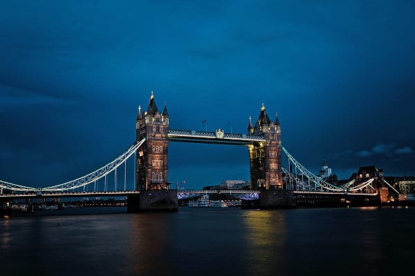 A view of the Tower Bridge, London.