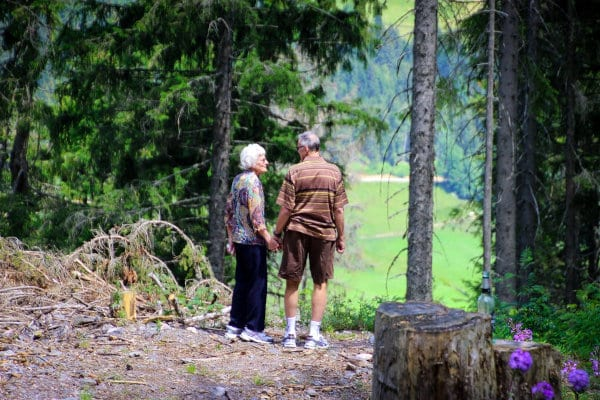 A senior pair out in the wild.