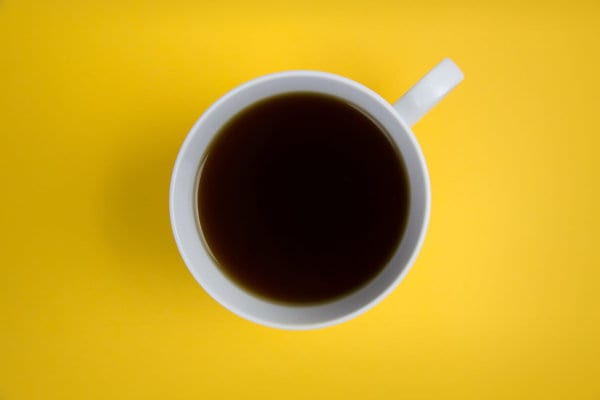 A top view of a cup of coffee.