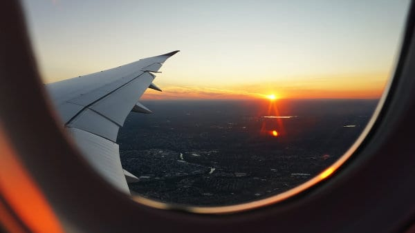 A view out of a plane's window.