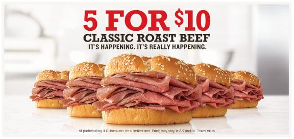 The 5 for $10 deal poster.