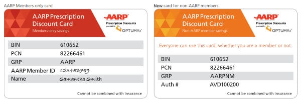 AARP oprescription cards for members and non-members.