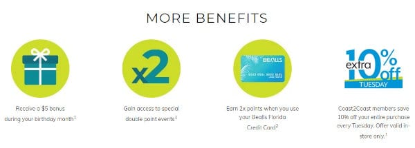 Some of the benefits of the Bealls member program.