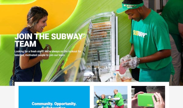 A view of the Subway website's career webpage.
