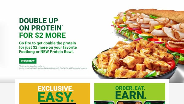 A view of the Subway website's deals webpage.