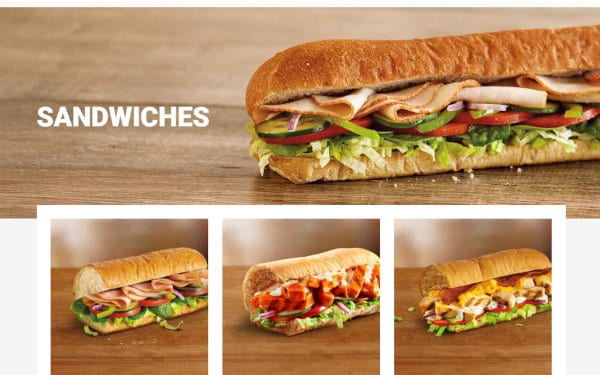 A view of the Subway website's menu webpage.