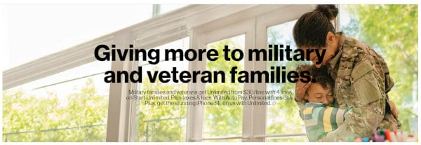 Verizon provides discounted plans to certain categories of users, including military members.