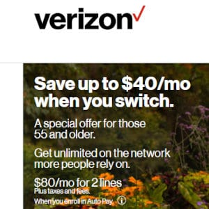 Verizon 55+ plan savings.
