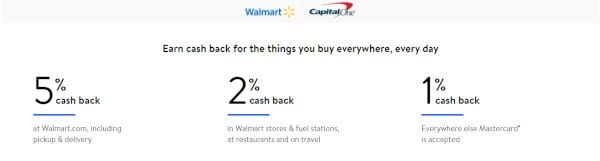 The cashback percentages of the Walmart card.