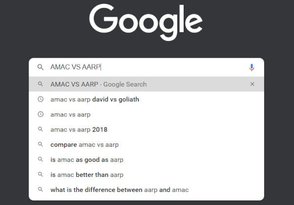 AMAC vs AARP Google search suggestions.