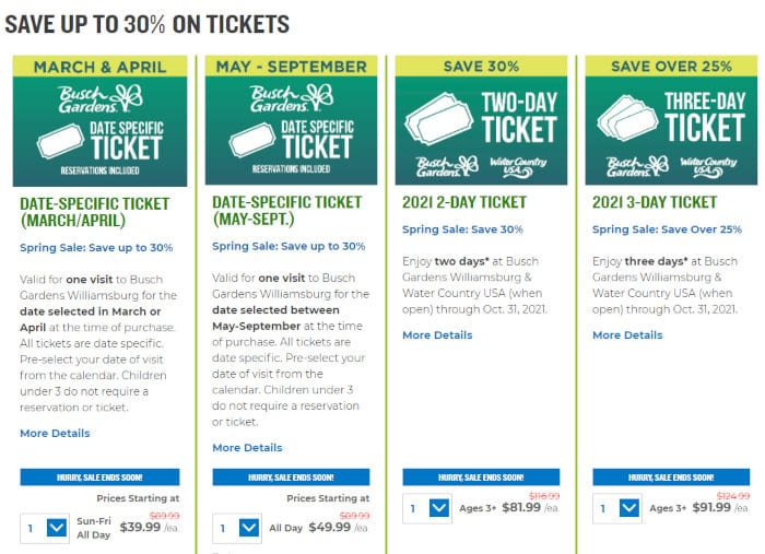 Some of the savings avaialble at the Williamsburg Busch Gardens.