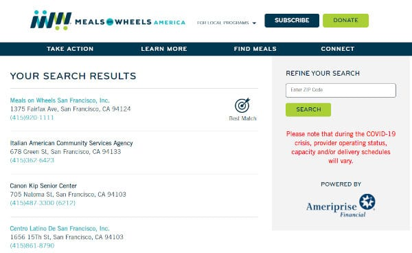 Meals on Wheels locations.