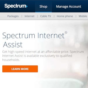 Spectrum Internet Assist headline.