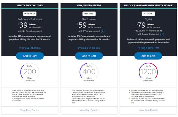 Though Comcast/Xfinity doesn't have a senior discount, it does offer deals on internet packages.
