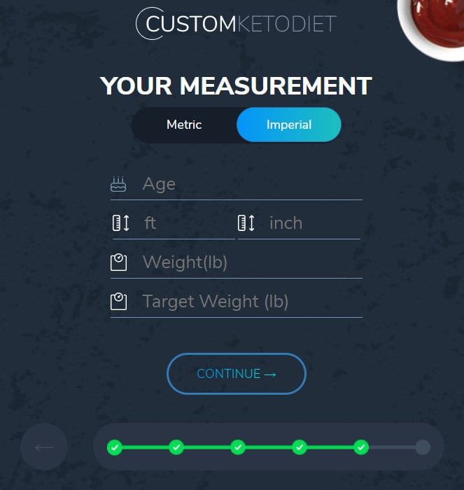 Finally, you need to enter your body measurements.