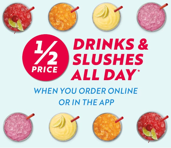 All-day Happy Hour when ordering online or in the Sonic mobile app.