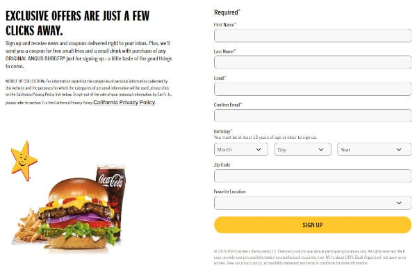Signing up for the Hardee's newsletter is a good way to stay up-to-date with discounts and promotions.
