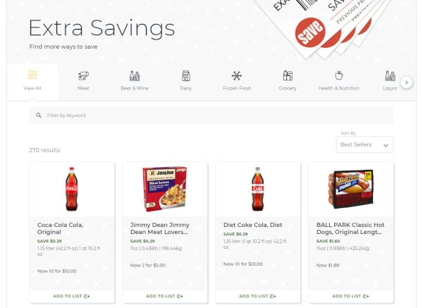 Extra Savings contain some deals on top of BOGOs and digital coupons.
