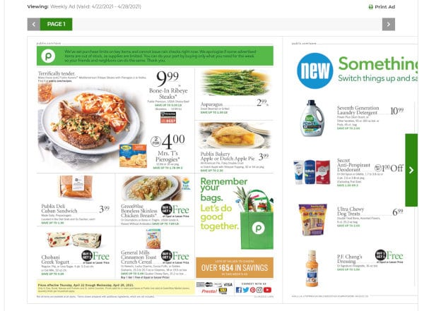 Check out Publix weeky ads regularly.
