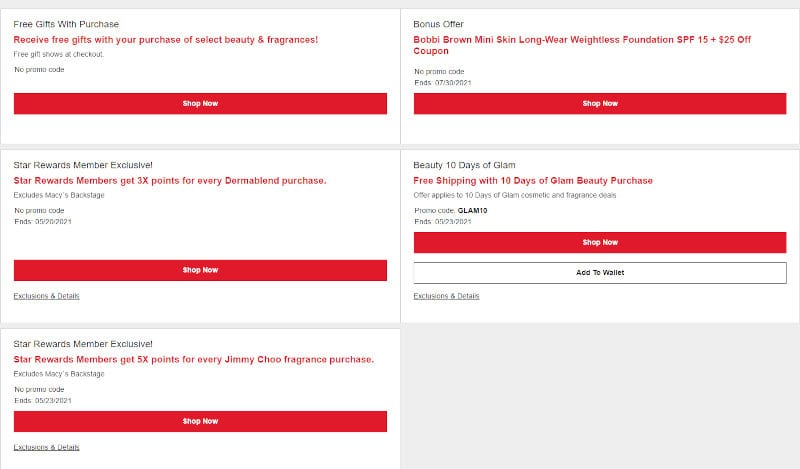 You can find fresh Macy's discounts and deals info on the Macy's website.