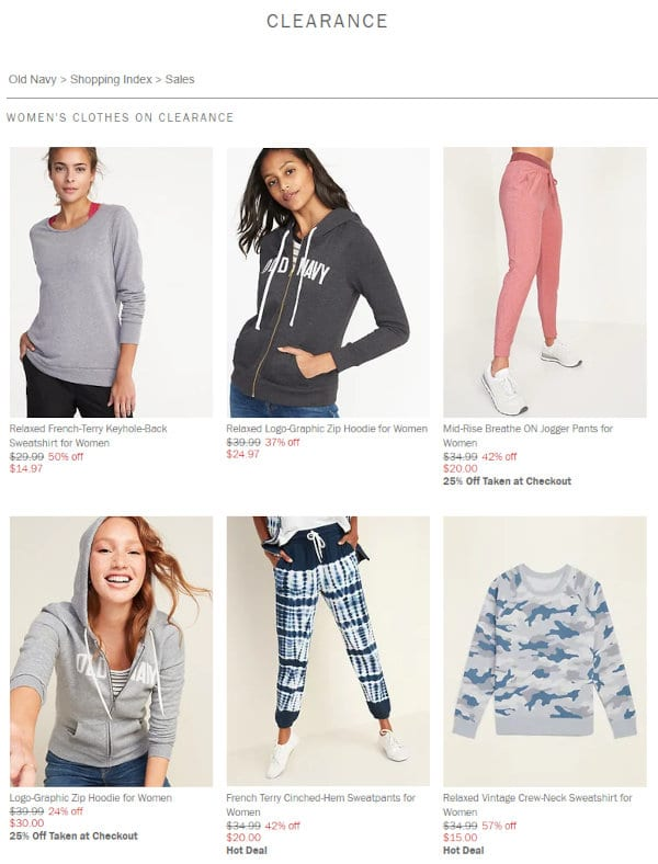 Clearance deals are one way to save with Old Navy.