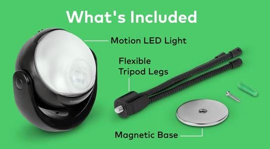 The mounting hardware included with the Lumenology light.