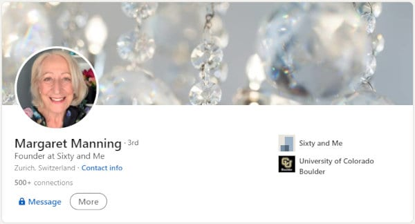 Sixy and Me's Margaret Manning on LinkedIn.