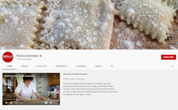 The Pasta Grannies YouTube channel.