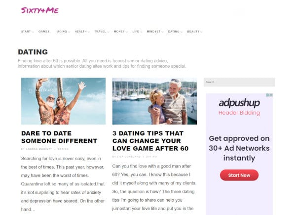 The dating section of Margaret Manning's website.