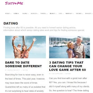 The dating section of Manning's website.