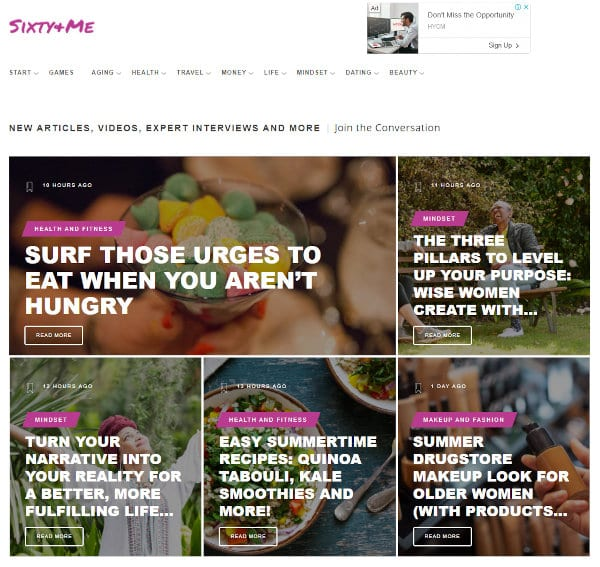 The homepage of Sixty and Me.