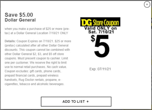 """The """"$5 off $25"""" coupon at Dollar General."""